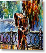 Kiss After The Rain - Palette Knife Oil Painting On Canvas By Leonid Afremov Metal Print