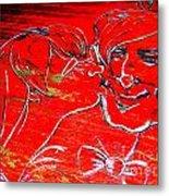 Kissing Couple Metal Print