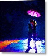Kissing In The Rain Metal Print