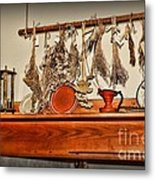 Kitchen - Herbs Drying Over The Mantel Metal Print