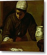 Kitchen Maid With The Supper At Emmaus, C.1618 Oil On Canvas Metal Print