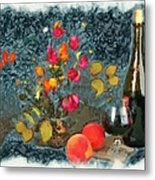 Kitchen - Peaches And Wine Painting  Metal Print by Liane Wright