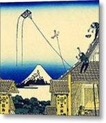 Kite Flying Over Mount Fuji Metal Print