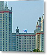 Kite Over Moscow University In Moscow-russia Metal Print