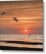 Kiteboarding At Sunset Metal Print by Tammy Smith
