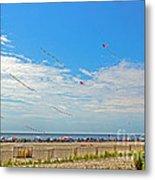 Kites Flying Over The Sand Metal Print