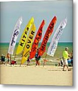 Kites Over Lake Michigan - Two Rivers Wi Metal Print