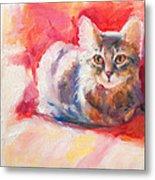 Kitten On Red Chair Metal Print