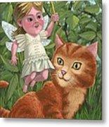 Kitten With Girl Fairy In Garden Metal Print
