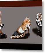 Kittens In Designer Ladies Shoes Metal Print