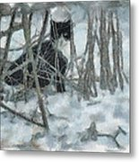 Kitty In The Cold Metal Print