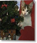Kitty Says Happy Holidays Metal Print