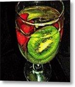 Kiwi And Grapes In  Wine Glass  Metal Print