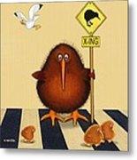 Kiwi Birds Crossing Metal Print