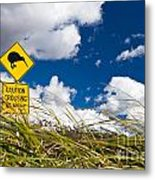 Kiwi Crossing Road Sign In Nz Metal Print