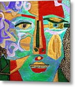 Klimt Face Metal Print