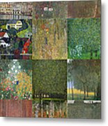 Klimt Landscapes Collage Metal Print