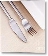 Knife Fork And Plate Metal Print