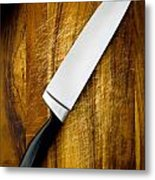 Knife On Chopping Board Metal Print