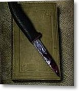 Knife With Book Metal Print