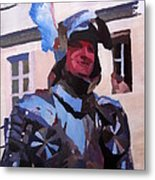 Knight In Full Armor During Parade Metal Print