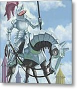 Knight In Shining Armour On Horesback Metal Print