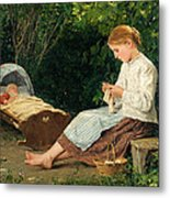 Knitting Girl Watching The Toddler In A Craddle Metal Print