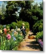 Knitting In The Garden Metal Print