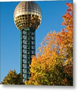 Knoxville Sunsphere In Autumn Metal Print