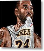 Kobe Bryant Biting Jersey Metal Print by Israel Torres