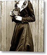 Kodak Girl With A Folding Camera Circa 1918 Metal Print