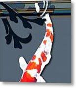 Kohaku Koi With Decorative Flourish Metal Print