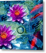 Koi And The Water Lilies Metal Print