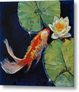 Koi And White Lily Metal Print