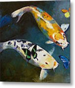 Koi Fish And Butterflies Metal Print by Michael Creese