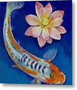 Koi Fish And Lotus Metal Print