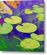 Koi Fish Under The Lilly Pads  Metal Print by Jon Neidert