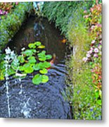 Koi Fountain Metal Print