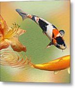 Koi With Azalea Ripples Dreamscape Metal Print