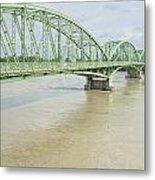 Komarom Bridge Over Flooding Danube River Metal Print
