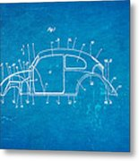 Komenda Vw Beetle Body Design Patent Art 1944 Blueprint Metal Print by Ian Monk