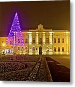 Koprivnica Night Street Christmas Scene Metal Print