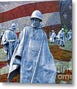 Korean War Veterans Memorial Bronze Sculpture American Flag Metal Print