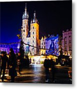 Krakow By Night Metal Print