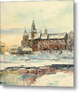 Krakow - Wawel Castle Winter Metal Print