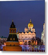Kremlin Cathedrals At Night - Featured 3 Metal Print