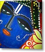 Krishna Folk Art  Metal Print