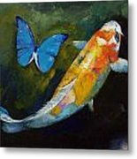 Kujaku Koi And Butterfly Metal Print