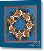 Kurbits Wreath Blue Metal Print