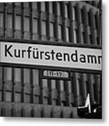 Kurfurstendamm Street Sign Berlin Germany Metal Print by Joe Fox
